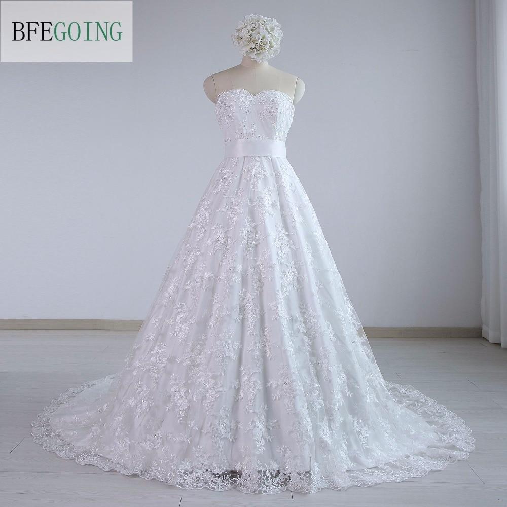 Hot Selling White Lace A Line Wedding dresses removable Satin Sash flower Chapel train Zipper Buttons