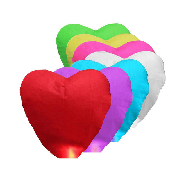 Flying Wishing Lamp Hot Air Balloon Kongming Lantern Cute Love Heart Sky Lantern Party Favors For Birthday Party Random Color