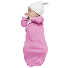 Newborn Baby Sleep Gowns Solid Color Long Sleeve Toddler Sleeper Gowns Pajamas Clothes Baby Boy Girl Cothes Pink Green Soft Sets(China)