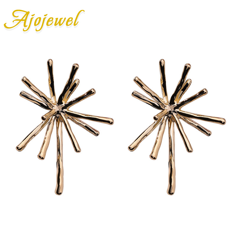 Ajojewel Metal Fireworks Designer Stud Earrings Women Exaggerated Statement Jewelry 2018 New Arrival Good Companions For Children As Well As Adults