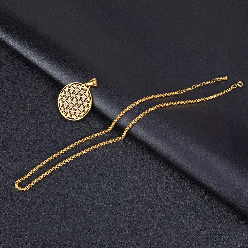 Soitis Rhinestone Pendant Necklace Flower Of Life Stainless Steel
