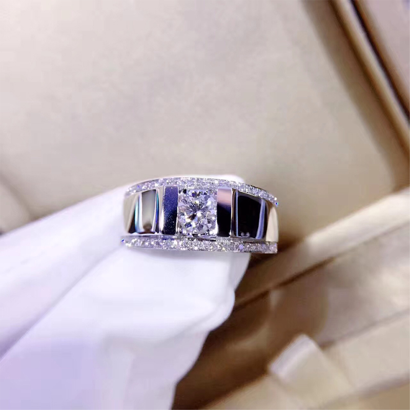 ANI 18k White Gold (AU750) Men Ring Certified F-G/SI 0.771 CT Round Cut Natural Real Diamond Engagement Ring Custom for Male цена 2017