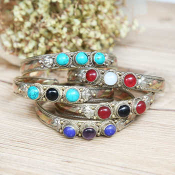 BB-059 Indian Fashion Bangles Rose Copper Inlaid Colorful Beads Open Cuff Wholesale 10pcs lot Free Ship