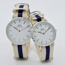 2016 New dw style JEAMS&HAZEL couple watch High Quality femel dress casual fashion nylon Men Women Wrist lovers Watch relojes dw