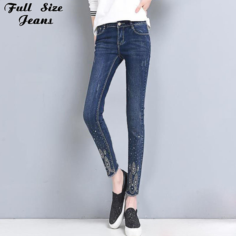 Summer Plus Size Rhinestone Beading Ankle Length  Jeans 4Xl 5Xl 6Xl Female Oversized Stretch Nine Pencil Pants Slim Fit Trousers rosicil new women jeans low waist stretch ankle length slim pencil pants fashion female jeans plus size jeans femme 2017 tsl049