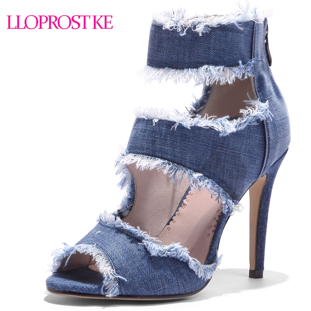 LLOPROST KE <font><b>2018</b></font> <font><b>Sexy</b></font> Women <font><b>Sandals</b></font> Denim Rome <font><b>Sandals</b></font> Thin High Heel Women Peep Toe Zipper Summer Shoes Plus Size 33-43 MY188 image