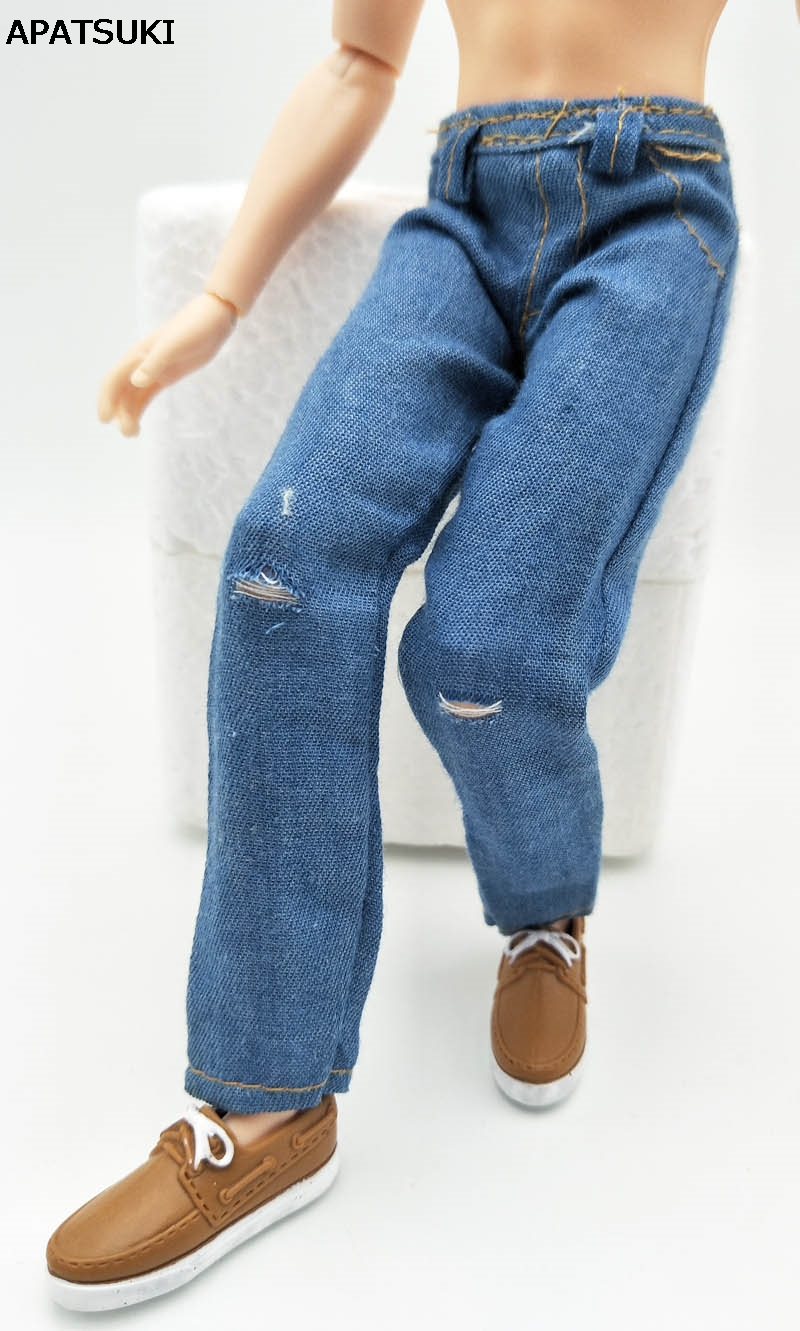 1/6 Doll Clothes Blue Handmade Jeans Pants For Ken Doll Trousers For Barbie's Boyfriend Ken Prince Male Doll Casual Wear