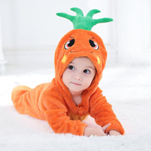 Baby Carrot Kigurumi Pajamas Clothing Newborn Infant Romper Onesie Anime Cosplay Costume Outfit Hooded Jumpsuit Winter Boy Girl