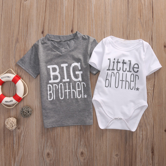 55c9d9438c772 Family Matching Clothing Children Newborn Baby Boys Bodysuit Big Brother T shirt  Tops Outfits for Little