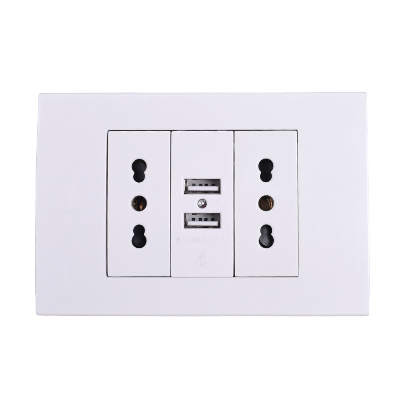 Wall Power Socket Plug, Double Italian / Chile Electrical Outlet With 1000mA Dual USB Charger Port For Mobile 118mm*80mm
