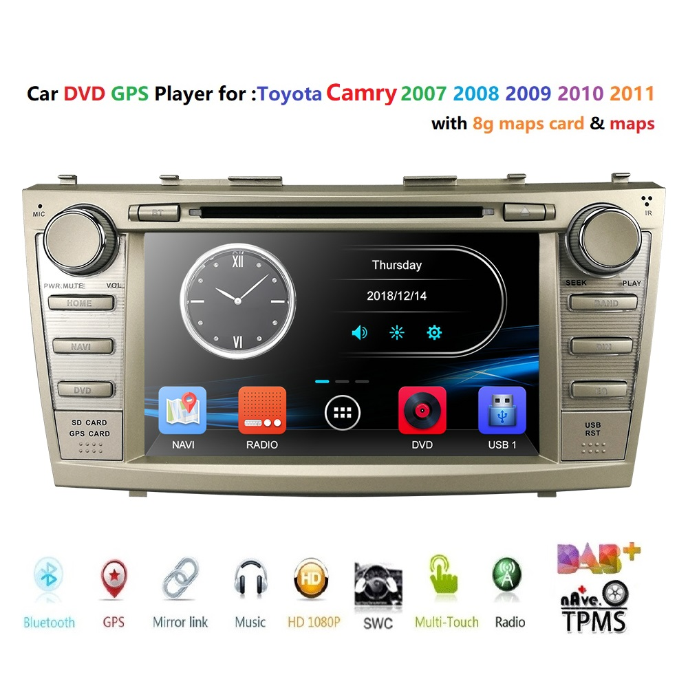2 Din Auto Radio Mirror link RDS DVD player for Toyota CAMRY 2007 2011 AURION 2006 2011 Car Multimedia Video GPS DVR