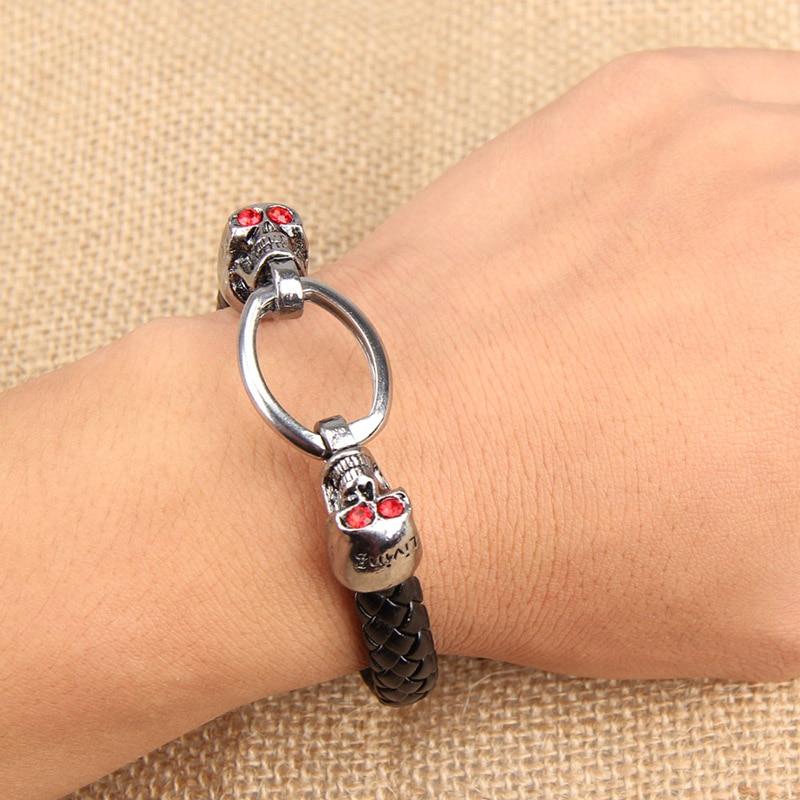New Fashion Shiny Rhinestone Skull Link Man Braid Bracelet String Black Woven Band Bangle LL@17