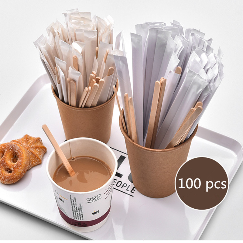 100pcs/Pack New American Coffee Wooden Stir Stick 1000ml Semi-hand Made Wood Eu Tea Pot Infusor Disposable 19cm/14cm