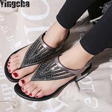 2018 Mulher Sandálias Sapatos Femininos Strass Chains Gladiador Tanga Sandálias Chaussure de Cristal Plus Size 42 Tenis Feminino