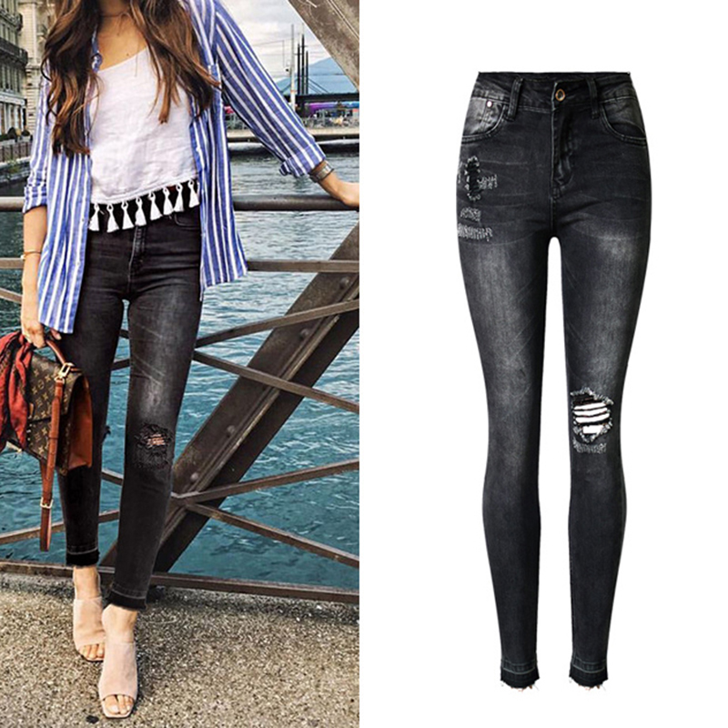 Huan Western world Store New Arrival Fashion Model Women Ladies Washed Straight Skinny Slim High Waist Stretch Tight Denim Hole Jeans