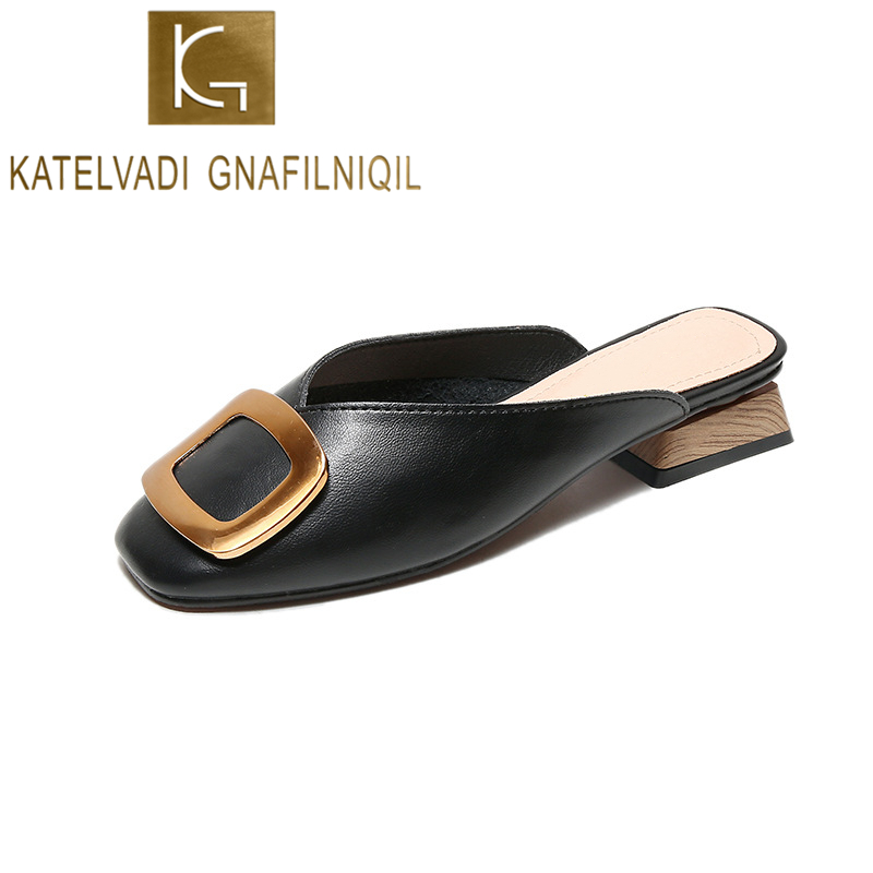 KATELVADI Women Shoes Mules Shoes Sqaure Toe Black PU Buckles Decoration Summer Lady Shoes Chic Low Heels Ladies Pumps K 420 in Slippers from Shoes