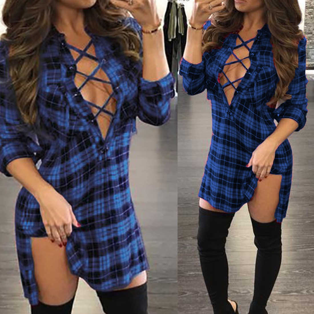 Jimmyhank Vrouwen Mode Herfst Winter Jurk Mini Party Dress Sexy Diepe V-hals Bandage Plaid Bodycon Jurk