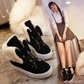 Venta Caliente del invierno de Las Mujeres Botas de Moda Dos Tipos de Desgaste de Peluche interior Botines para Las Mujeres cordones Ocasionales Calientes Zapatos Bota de la Nieve