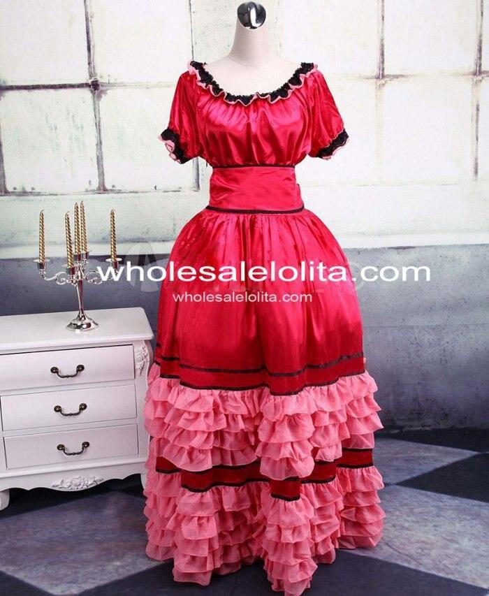 Rouge foncé Satin coton Sweet Lolita DressGothic robe Lolita robe de bal