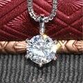 Sólido 18 K 750 Oro Blanco 0.5 Carat Laboratorio Crecido Moissanite Diamante ct F Color Collar Colgante Para Las Mujeres