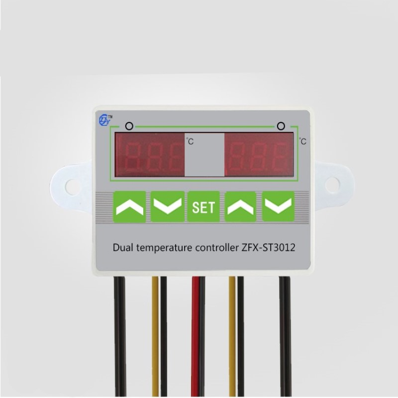 ST3012 220V 12V 24V Dual Digital Temperature Controller 10A Thermostat Control Switch Probe 2x waterproof sensor thermostatic  - buy with discount