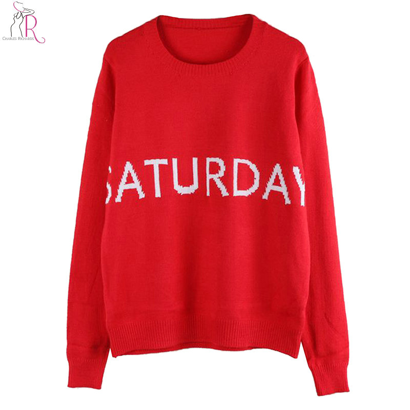 3 Colors Letters Pattern <font><b>Pullover</b></font> <font><b>Rib</b></font> Trim Women Knitted <font><b>Sweater</b></font> Autumn New <font><b>Long</b></font> <font><b>Sleeve</b></font> <font><b>Round</b></font> <font><b>Neck</b></font> Casual Top Wear