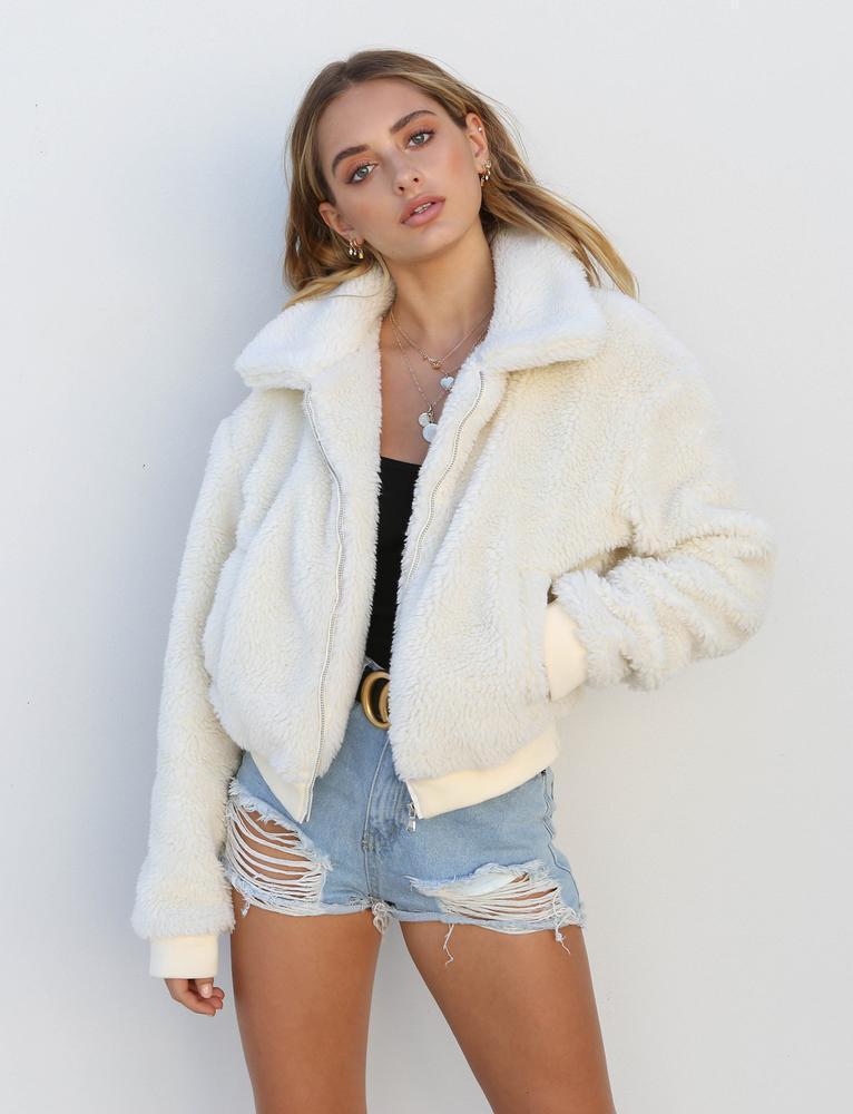 Fur Jackets 2019 New Arrival Women Faux Fur Coat Biker Streetwear Teddy Bear Pocket Fleece Jacket Zip Up Outwear Women Clothes