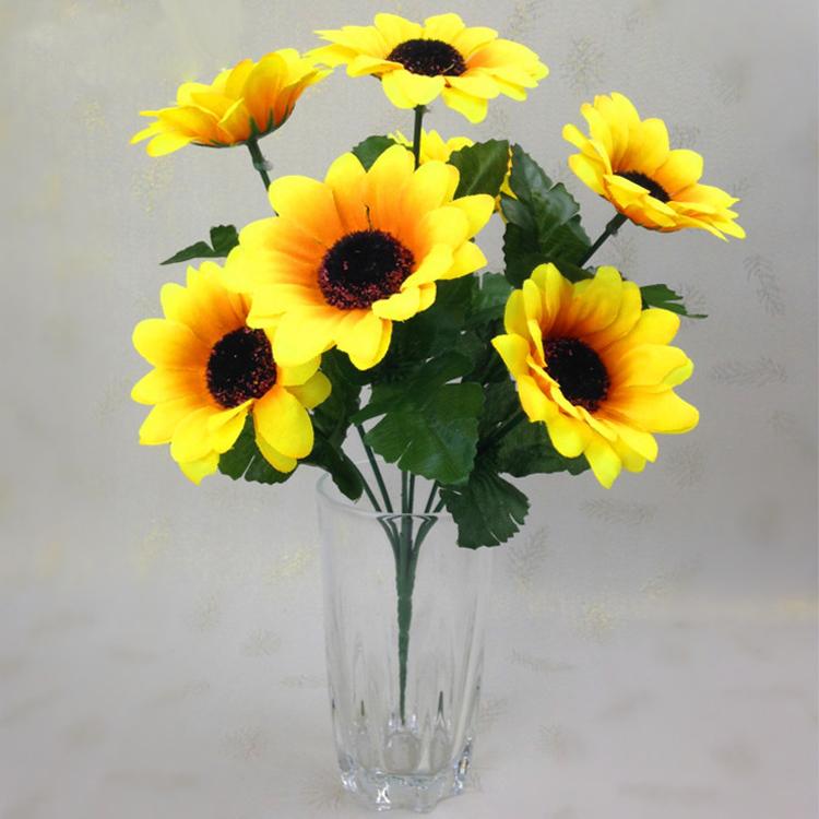 7 Heads Sunflower Accent Piece Household Silk Plastic Home Arrangement Porch Yellow Floral Crafts Decor