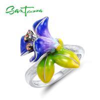 SANTUZZA Zilveren Ringen Voor Vrouwen 925 Sterling Zilveren Mode Bloem Ringen voor Dames Zirconia Ringen Party Sieraden Enamel