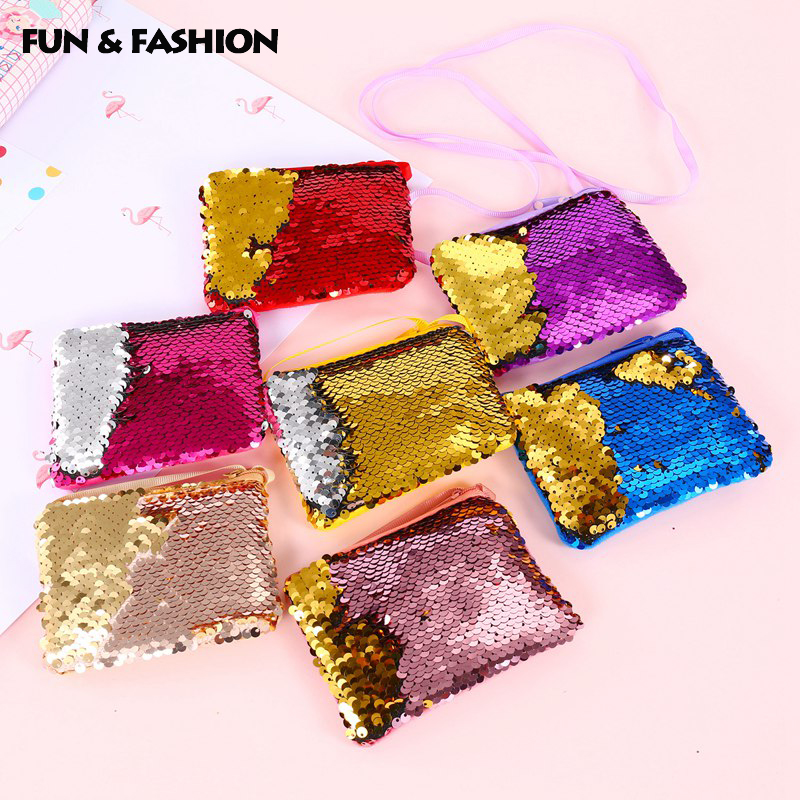 Lady Girl Purse Wallet Reversible Sequin Portable Emergency Bag For Women Glitter Mini Pocket First Aid Kits Medical Treatment