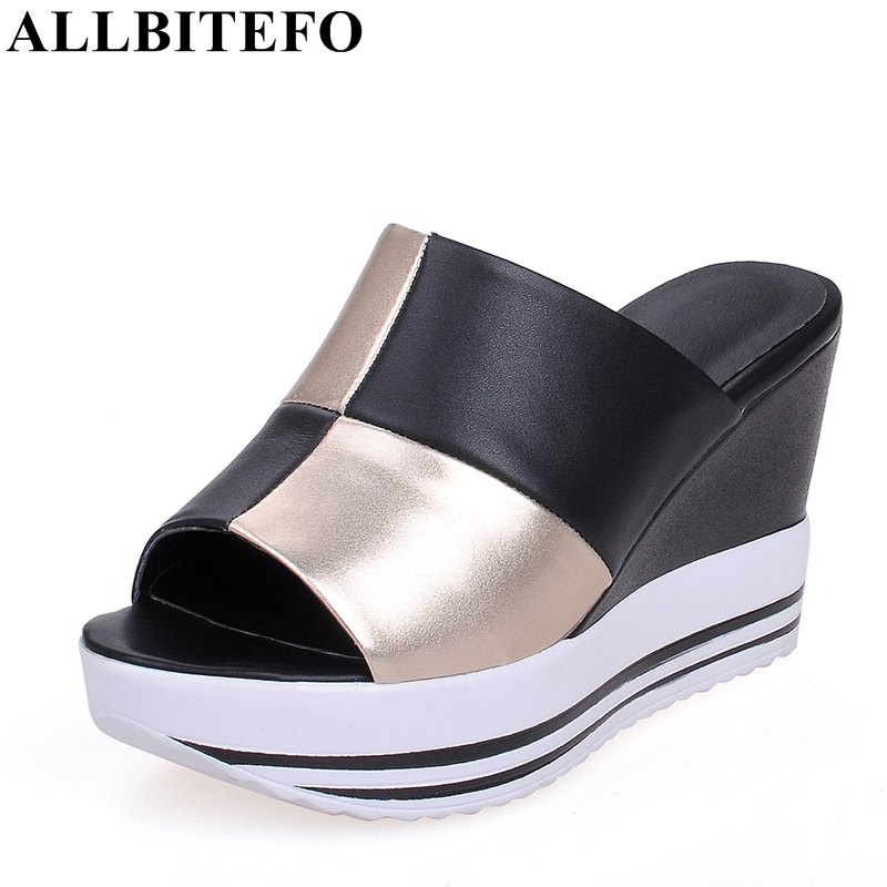 ALLBITEFO size:34-44 full genuine leather mixed colors women sandals peep toe wedges heel platform summer sandals flip flops