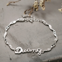 BEBE Queen Jewelry Stamped 925 Sterling Silver Charms Bracelet Bangles Fashion DUANG Letter Bracelet For Women