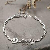 BEBE Regina Gioielli Timbrato 925 Sterling Silver Charms Bracelet & Bangles Moda DUANG Lettera Braccialetto per Le Donne Oro Bianco