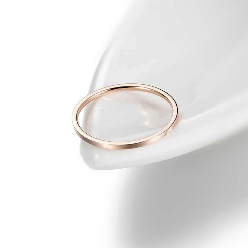 """טבעות לנשים טיטניום פלדת רוז זהב צבע קוריאני תכשיטי גברים פשוט חתונה זוג זנב רוחב 1 מ""""מ Stackable דק מעגל"""