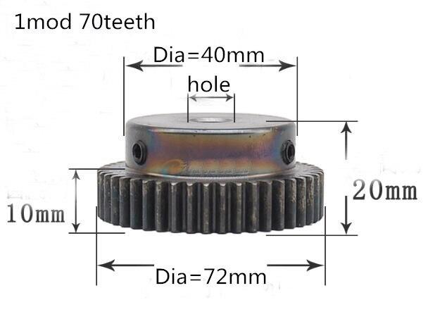 1M 70T 1 mod gear pinion 70 teeth spur gear precision bore 8-12mm cnc pinion motor accessory drive robot race transmission RC цена и фото