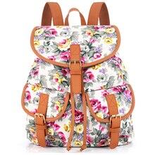 Sansarya Новый 2017 Пион печати холст подросток рюкзак старинные shcool сумки Bagpack женщины рюкзак для девочек Женский шнурок мешок