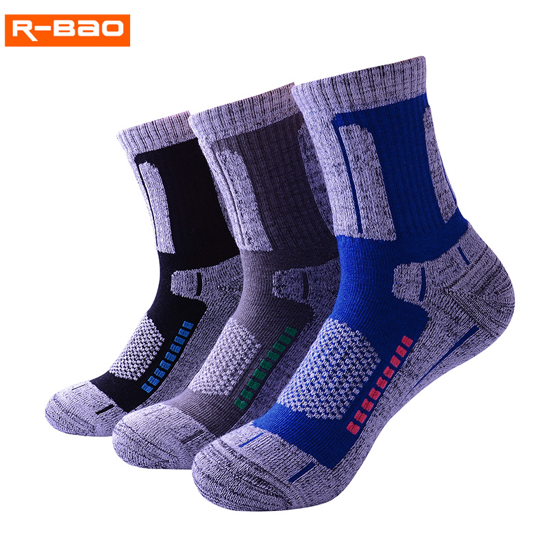 R-BAO Hiking Climbing Sport Socks Men Women High Quality Thicken Cotton Breathable Winter Warm Ski Sneakers Terry Towel Sock