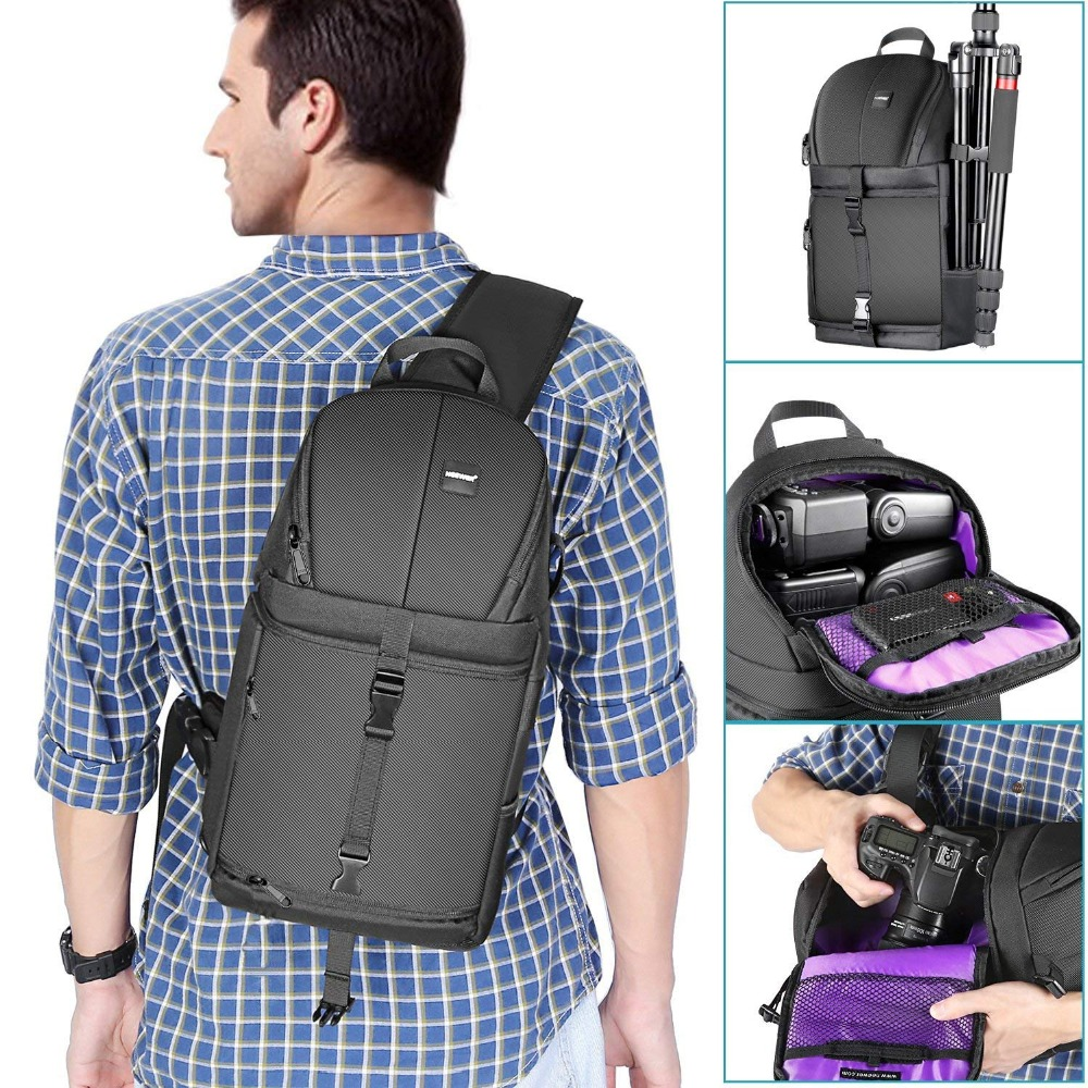 Neewer Professional Sling Camera Storage Bag Durable Waterproof and Tear Proof Black Carrying Backpack Case for DSLR Camera-in Camera/Video Bags from Consumer Electronics