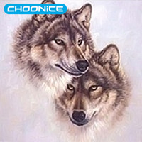 Two Wolfs 3D DIY Diamond Embroidery Sale Wolf Diamond Painting Pictures Of Rhinestones Beaded Embroidery Pictures Of Crystal