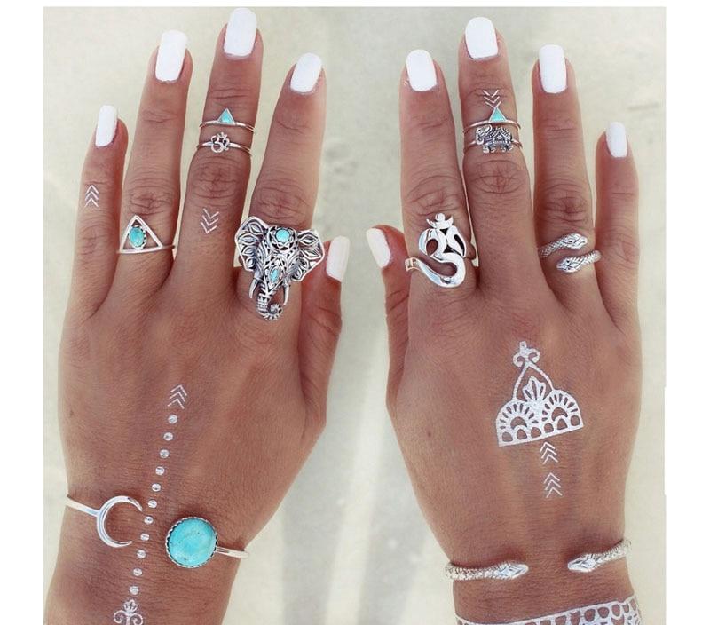 Fashion Maxi Ring trendy Ethnic style Ring 8pcs/set Gypsy ...
