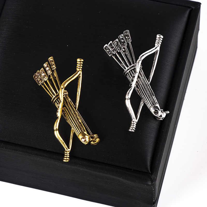 Vintage Logam Busur dan Anak Panah Bros Crystal Pakaian Suit Kerah Kemeja Kerah Pin Bros Pria Wanita Perhiasan Aksesoris