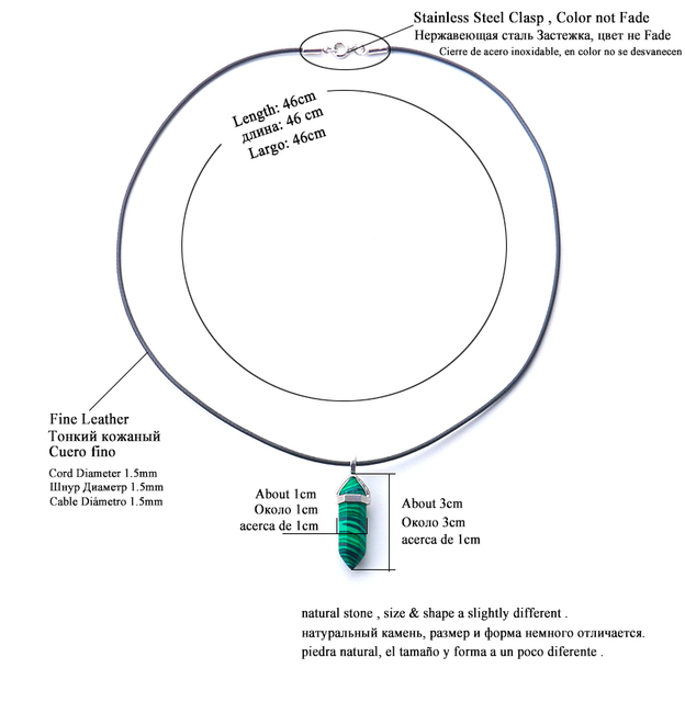 24 disegno naturale avventurina verde opale ciondolo di cristallo di quarzo in pelle nera hexagon pendente chrysocolla choker della collana dei monili
