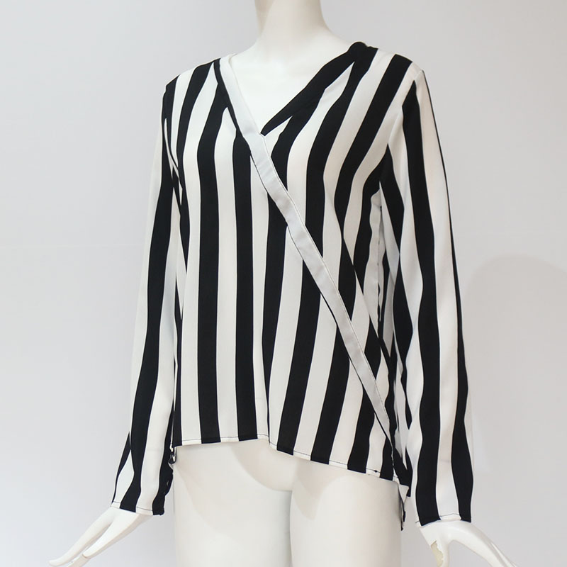 Women Striped Blouse Shirt Long Sleeve Blouse V-neck Shirts Casual Tops Blouse 59