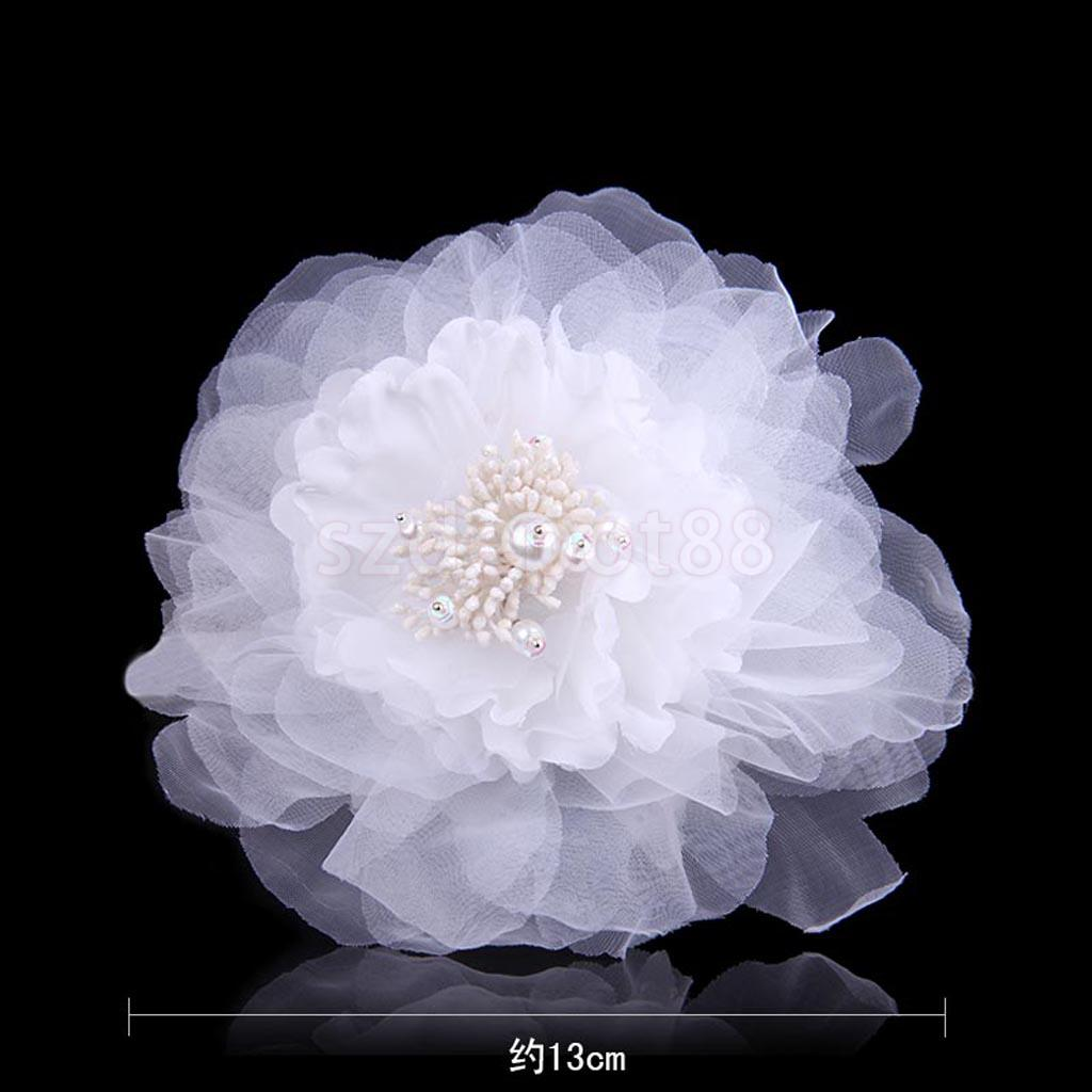 Bridal Wedding Fabric Flower Pin Brooch Pearl Diamante Hairpin Jewelry White