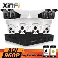 XINFI 8CH HDMI 960 P HD 1.3MP Caméra de Sécurité À Domicile Système CCTV NVR kit Intempéries Dôme IP Caméra Enregistrement en temps Réel P2P onvif