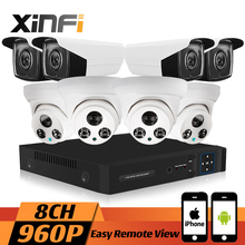 XINFI 8CH HDMI 960P HD 1.3MP Home Security Camera System CCTV kit Weatherproof Dome IP Camera Real-time Recording P2P onvif