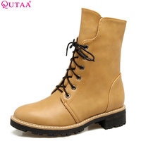 QUTAA 2018 Women Mid Calf Boots Black Pu Leather Square Heel Round Toe Fashion Spring And