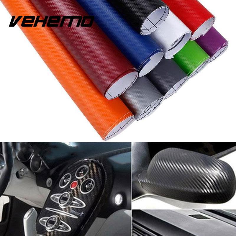 Vehemo 127 см x 20 см 3d углерода Волокно винил Обёрточная бумага Простыни roll Плёнки мотоциклетные наклейки автомобиль Средства для укладки волос