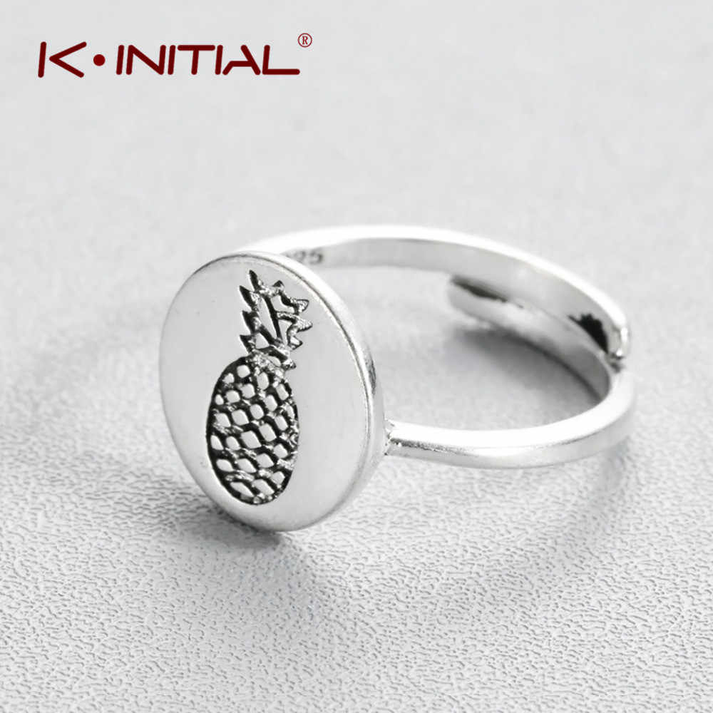 Kinitialシルバーパイナップルリングフルーツ柄形オープニングの結婚指輪指ナックルギフトジュエリーバゲアナナス