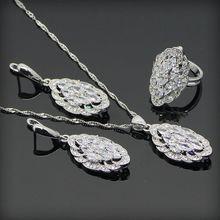 Nuevo Estilo Pure White Topaz 925 Pendientes de Plata de La Joyería Para Las Mujeres de Plata/Colgante/Collar/Anillos Caja de Regalo libre